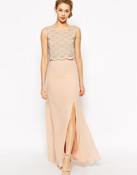 TFNC Maxi dress with double layer scallop embellished bodice in nude - Maxi dress by TFNC Lined chiffon Round neckline...