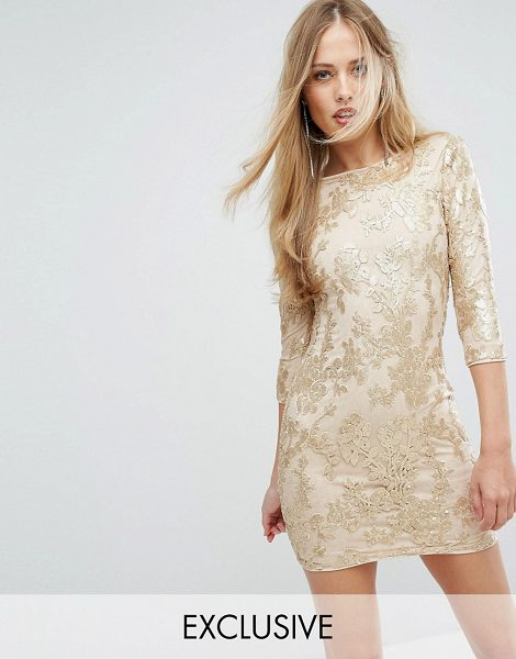 "TFNC mini 3/4 length sleeve sequin dress in gold - """"Mini dress by TFNC, Sequin-embellished mesh, Fully..."