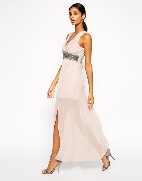 TFNC Plunge neck maxi dress with embellished waist in nude - Maxi dress by TFNC 100% Polyester Delicate chiffon...
