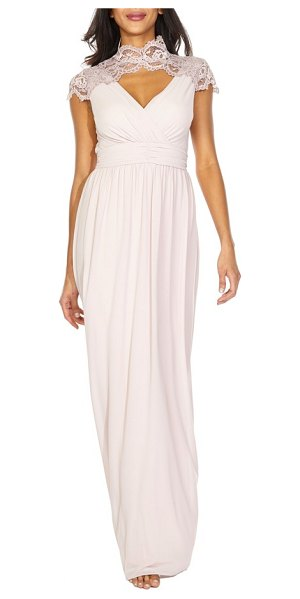 TFNC sanna lace trim chiffon gown in pink
