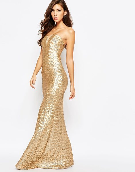 """TFNC Showstopper Sequin Maxi Dress in gold - """"""""Maxi dress by TFNC, Sequinned mesh, Fully lined,..."""