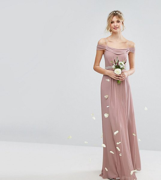 "TFNC Tall Wedding Cold Shoulder Embellished Maxi Dress in pink - """"Tall dress by TFNC, Lightweight lined fabric, Scoop..."