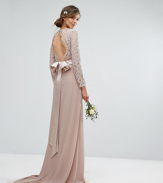 """TFNC Tall Wedding Lace Maxi Dress With Bow Back in pink - """"""""Tall dress by TFNC, Semi-sheer lace top, Lined front,..."""