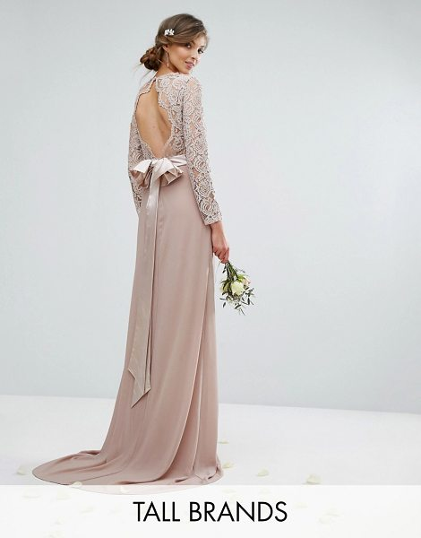 TFNC Tall Wedding Lace Maxi Dress With Bow Back in pink - Tall dress by TFNC, Semi-sheer lace top, Lined front,...