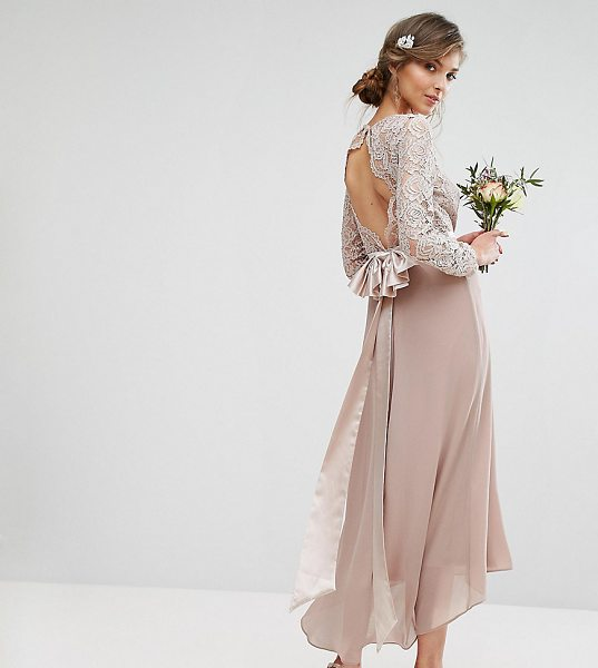 "TFNC Tall Wedding Lace Midi Dress With Bow Back in pink - """"Tall dress by TFNC, Semi-sheer lace top, Lined front,..."