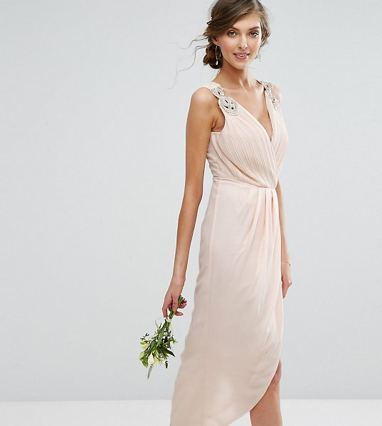 "TFNC Tall Wedding Wrap Midi Dress With Embellishment in beige - """"Midi dress by TFNC, Woven fabric, Plunge neck,..."