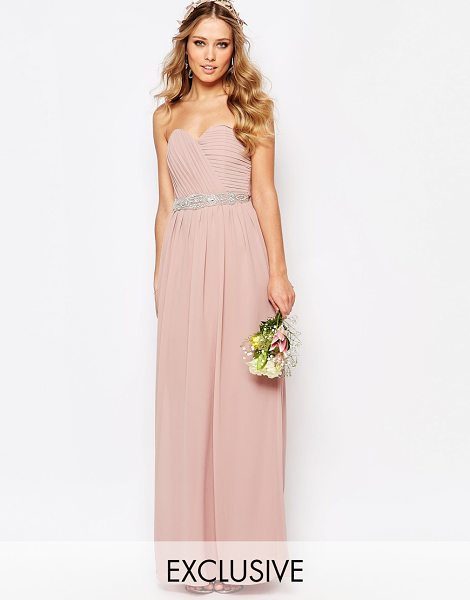 TFNC WEDDING Bandeau Chiffon Maxi Dress in pink - Maxi dress by TFNC, Lined chiffon, Sweetheart neckline,...