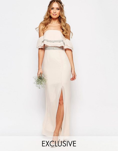 TFNC WEDDING Bandeau Embellished Maxi Dress in pink
