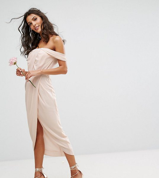 """TFNC Bardot Midi Bridesmaid Dress with Wrap Front and Pleated Bust - """"""""Midi dress by TFNC, Smooth woven fabric, Bardot neck,..."""