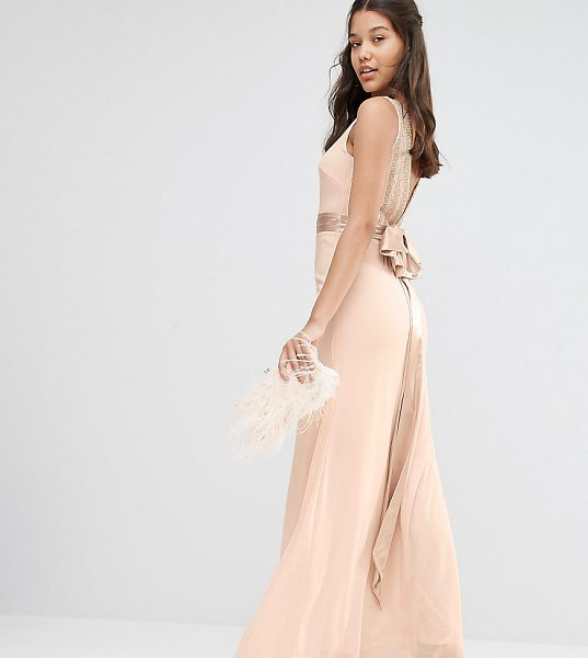 "TFNC WEDDING Bow Back Embellished Maxi Dress in pink - """"Maxi dress by TFNC, Smooth woven fabric, Slash..."