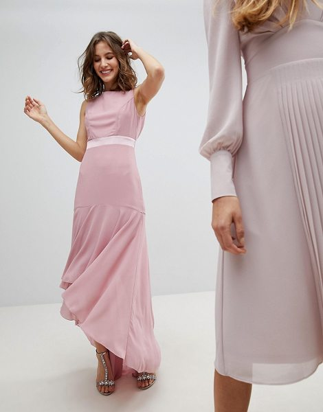 TFNC maxi bridesmaid dress with high low hem in vintagerose - Maxi dress by TFNC, Be the best dressed guest, Scoop...