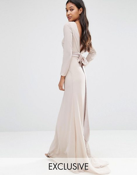 TFNC WEDDING Bow Back Maxi Dress with Long Sleeves - Maxi dress by TFNC, Lined woven fabric, Boat neckline,...