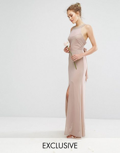 """TFNC wedding chiffon maxi dress with tonal embellishment and tie detail in mink - """"""""Maxi dress by TFNC, Lined chiffon, Halterneck with..."""