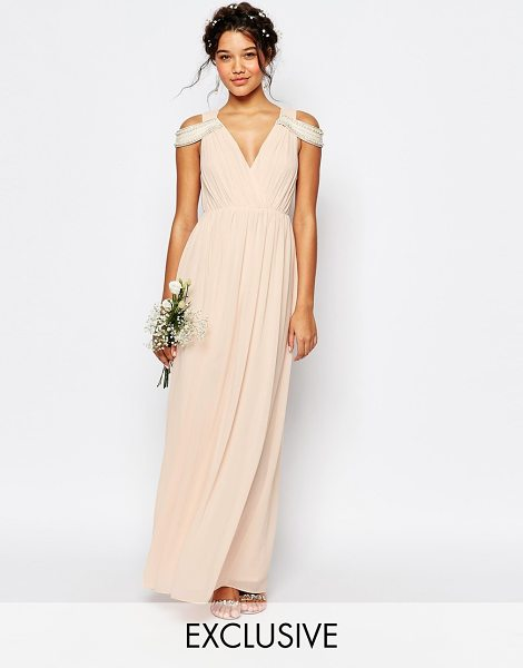 TFNC WEDDING Cold Shoulder Wrap Front Maxi Dress in pink - Maxi dress by TFNC, Layered chiffon crepe, Pleated...