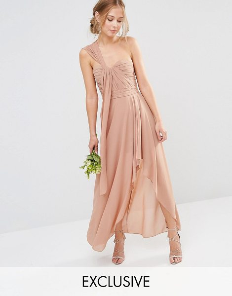 TFNC WEDDING Drape One Shoulder Maxi Dress in brown - Maxi dress by TFNC, Lined chiffon, Single shoulder...