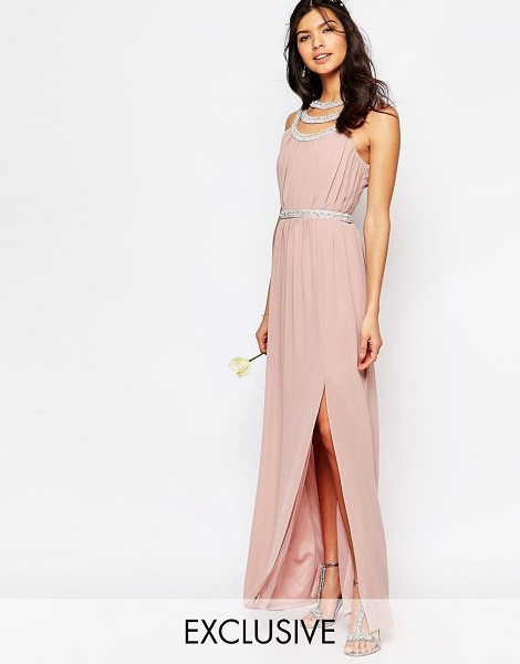 TFNC WEDDING Embellished Maxi Dress in pink - Maxi dress by TFNC, Lined chiffon, High neckline,...