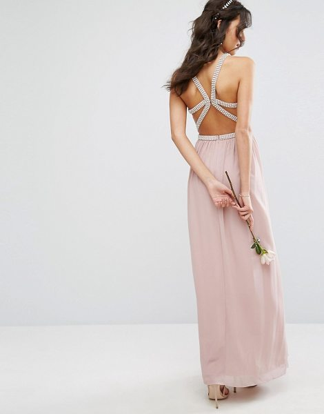 "TFNC WEDDING Embellished Maxi Dress With Embellished Strappy Back in pink - """"Maxi dress by TFNC, Lined chiffon, High neck,..."