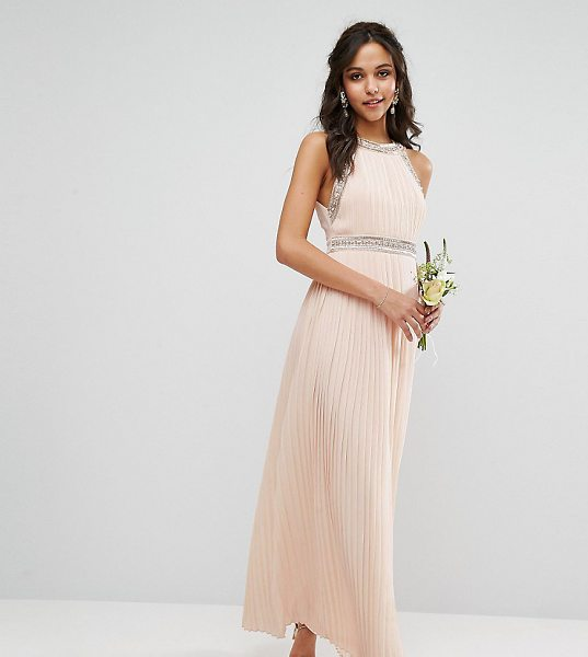 "TFNC WEDDING Embellished Neck Maxi Dress in pink - """"Maxi dress by TFNC, Lined chiffon, High neck,..."