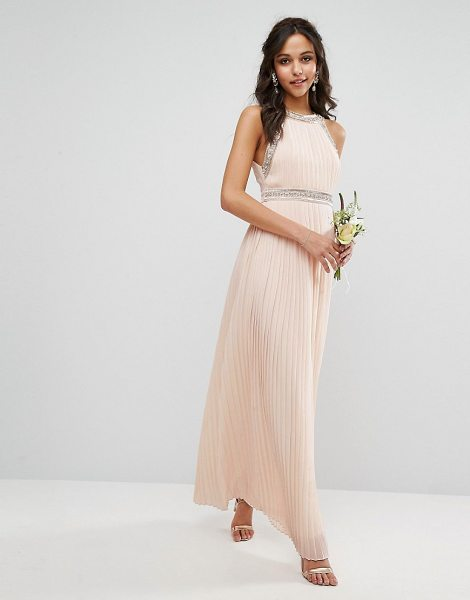 "TFNC wedding embellished neck maxi dress in nude - """"Maxi dress by TFNC, Lined chiffon, High neck,..."