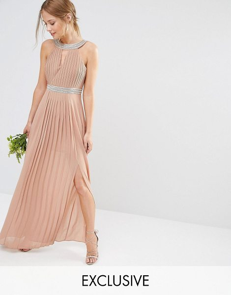 TFNC WEDDING Embellished Pleated Maxi Dress in brown - Maxi dress by TFNC, Lined chiffon, Pleated design,...