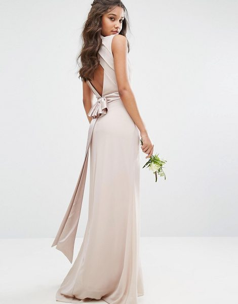 "TFNC WEDDING High Neck Maxi Dress with Bow Back in pink - """"Maxi dress by TFNC, Lined chiffon, High neck, Cut-out..."