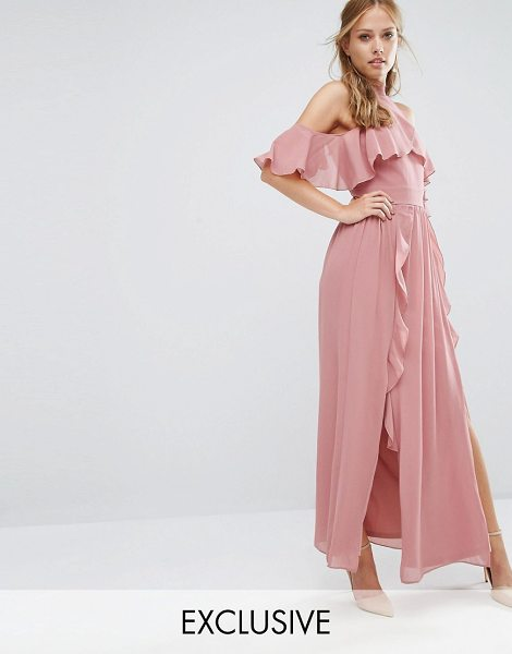 TFNC WEDDING High Neck Maxi Dress with Frills in pink - Maxi dress by TFNC, Textured woven fabric, Fully lined,...