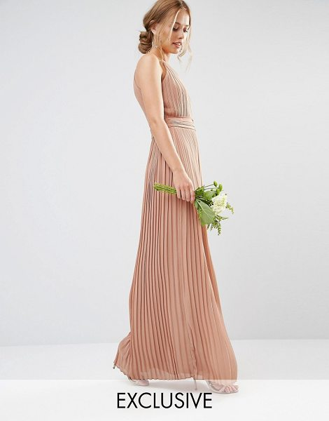 TFNC wedding high neck pleated maxi dress in taupe