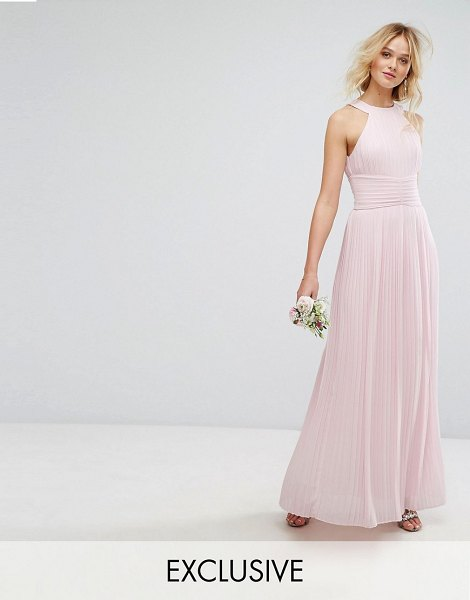 "TFNC High Neck Pleated Maxi Bridesmaid Dress in pink - """"Maxi dress by TFNC, Lined woven fabric, Pleated..."