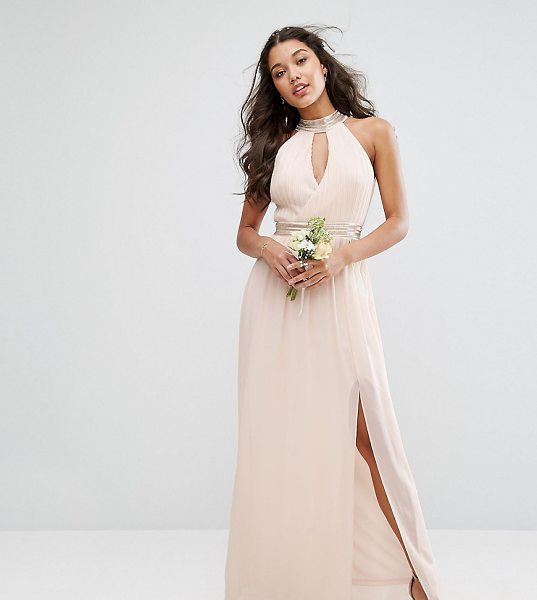 TFNC WEDDING Maxi Dress With Embellishment in pink - Maxi dress by TFNC, Lightweight lined chiffon, Pleated...