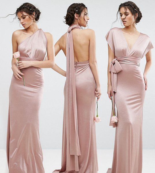 "TFNC WEDDING Multiway Maxi Dress in Sheen in pink - """"Maxi dress by TFNC, Smooth satin, Comes with two long..."