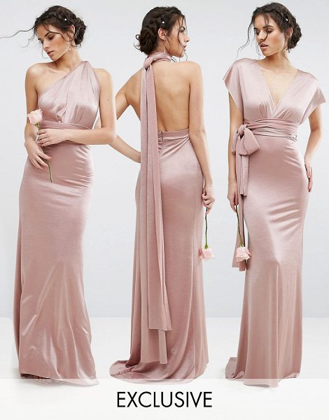 """TFNC WEDDING Multiway Maxi Dress in Sheen in pink - """"""""Maxi dress by TFNC, Smooth satin, Comes with two long..."""