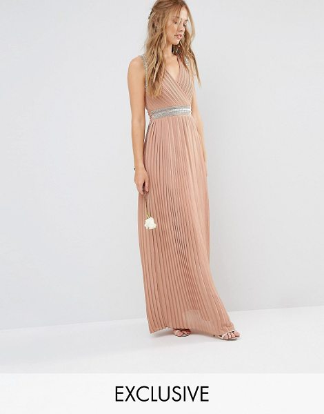 TFNC WEDDING Pleated Embellished Maxi Dress in brown - Maxi dress by TFNC, Lined chiffon, Pleated design, Wrap...