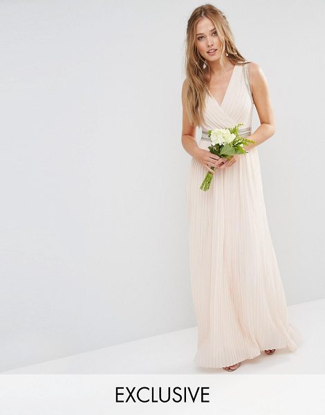 TFNC WEDDING Pleated Embellished Maxi Dress in pink - Maxi dress by TFNC, Lined chiffon, Pleated design, Wrap...
