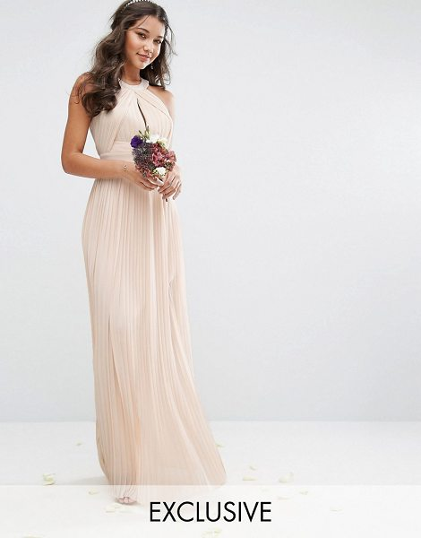 "TFNC pleated maxi bridesmaid dress in nude - """"Maxi dress by TFNC, Lined chiffon, High neck, Cut-out..."