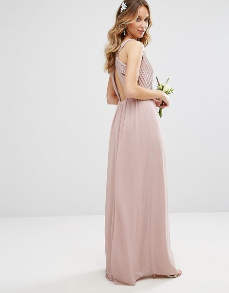 TFNC WEDDING Pleated Maxi Dress With Back Detail in pink - Maxi dress by TFNC, Lined woven fabric, Wrap V-neck,...