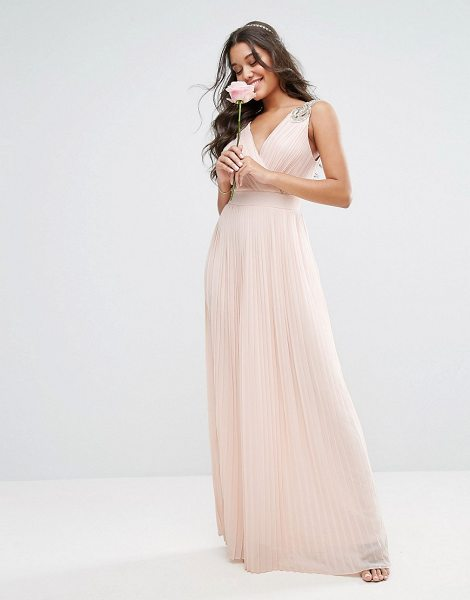 TFNC WEDDING Pleated Maxi Dress with Embellished Shoulder - Maxi dress by TFNC, Pleated chiffon, Fully lined, V...