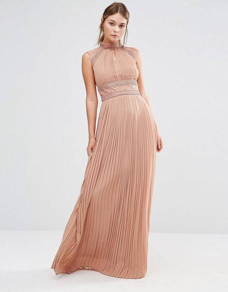 TFNC WEDDING Pleated Maxi Dress with Lace Detail in beige - Maxi dress by TFNC, Knife-pleated woven fabric, High...