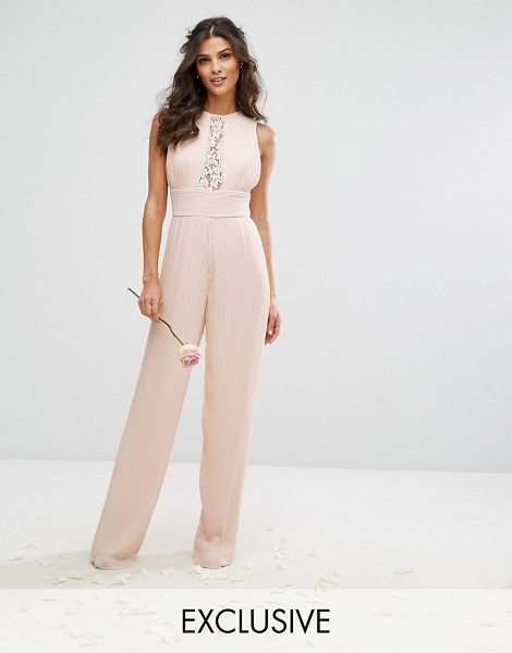 TFNC WEDDING Pleated Wide Leg Jumpsuit with Lace Insert in pink