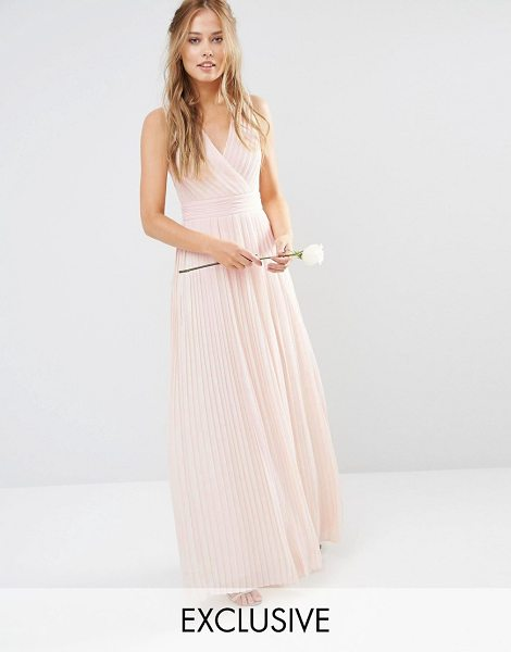 TFNC pleated wrap maxi bridesmaid dress in nude - Maxi dress by TFNC, Lined pleated chiffon, V-neckline,...
