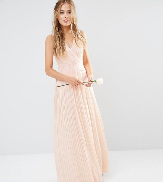TFNC WEDDING Pleated Wrap Maxi Dress in pink - Maxi dress by TFNC, Lined pleated chiffon, V-neckline,...