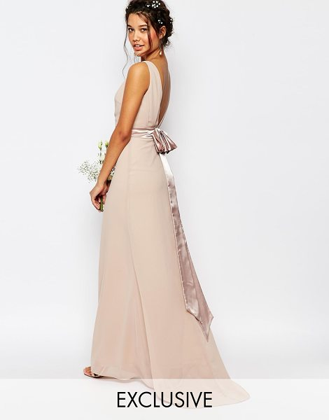 TFNC Wedding sateen bow back maxi dress in nude - Maxi dress by TFNC Layered chiffon crepe Smooth lining...