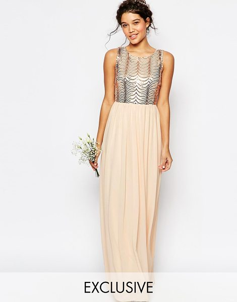 TFNC WEDDING Sequin Maxi Dress with Open Back in pink - Maxi dress by TFNC, Sequin embellished mesh top,...