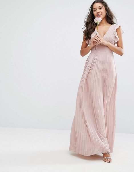 "TFNC WEDDING V Front Maxi Dress With Frill Sleeves - """"Maxi dress by TFNC, Lightweight lined chiffon, Plunge..."