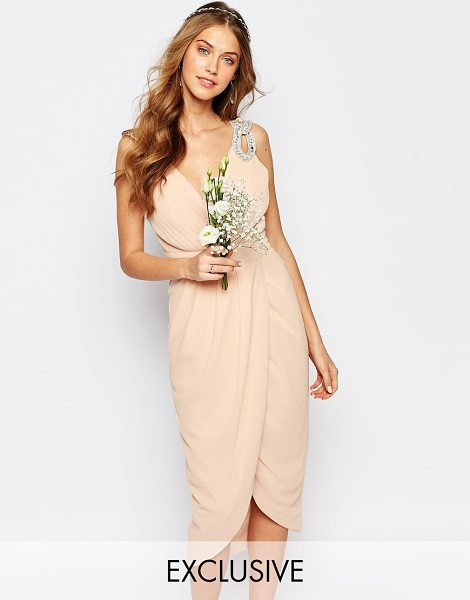 TFNC WEDDING Wrap Embellished Midi Dress in pink - Dress by TFNC, Layered chiffon crepe, Bead and gem...