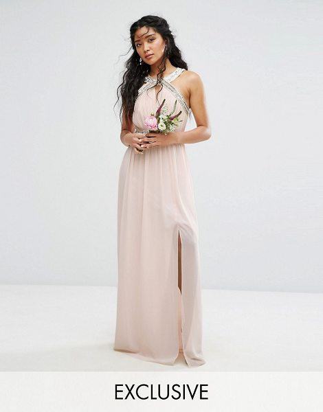 """TFNC wedding wrap front halter maxi dress with embellishment in nude - """"""""Maxi dress by TFNC, Lined chiffon, High neck,..."""