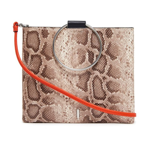 Thacker le pouch ring handle snake embossed leather crossbody bag in brown