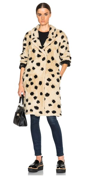 Thakoon Addition Ocelot coat in neutrals - 62% wool 20% acrylic 18% nylon 2% lycra.  Made in China....