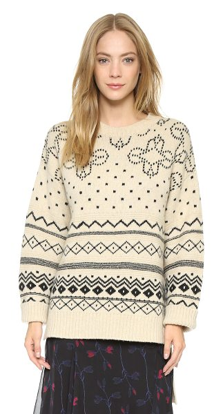 Thakoon Crew neck pullover in cream - Mixed geometric patterns lend a menswear feel to this...