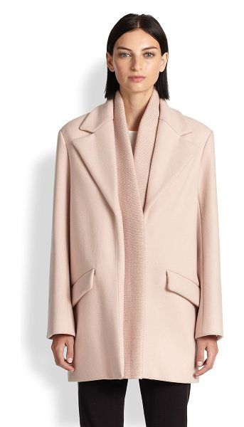 Thakoon Ribbed-detail wool coat in blush - Crafted from luxurious Italian wool, this structural...