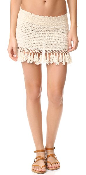 Thayer mare mini skirt in natural - Fringe adds retro appeal to this crochet Thayer mini...